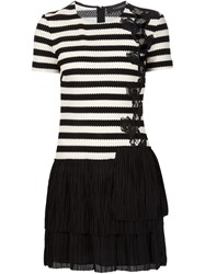 Thakoon Pleated Hem Striped Dress Black