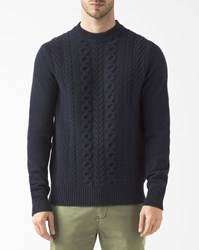 Ben Sherman Navy Blue Cable Knit Wool Jumper