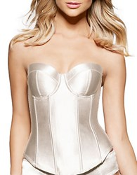 Fine Lines Satin Strapless Bustier Ivory