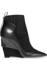 Jimmy Choo Damsen Leather And Suede Wedge Ankle Boots Black