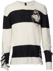 Mihara Yasuhiro Distressed Striped Sweater White