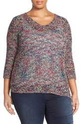Plus Size Women's Nic Zoe 'Rhythm And Blues' V Neck Tape Yarn Sweater Multi