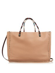 Valentino Rockstud Tribal Double Reversible Tote Beige Multi