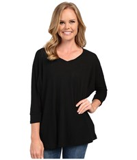 Allen Allen 3 4 Sleeve Dolman Vee Black Women's Long Sleeve Pullover