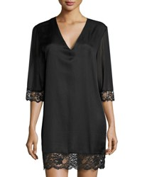 La Perla Jazztime Cotton Silk Blend Sleepshirt Black