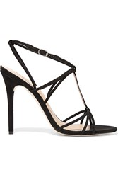 Halston Anita Suede Sandals Black