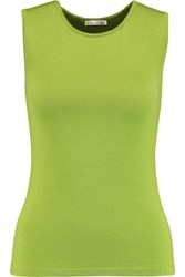 Oscar De La Renta Cashmere And Silk Blend Tank Green