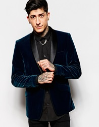 Devils Advocate Plain Velvet Shawl Collar Jacket Blue