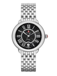 Michele Serein Diamond Black Mother Of Pearl And Stainless Steel Bracelet Watch Silver Black
