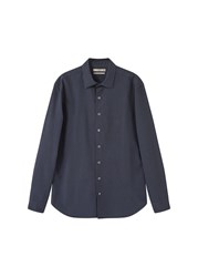 Mango Men's Slim Fit Textured Cotton Shirt Navy