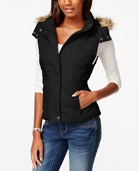 American Rag Faux Fur Trim Puffer Vest Only At Macy's Classic Black