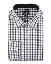 English Laundry Plaid Long Sleeve Dress Shirt Charcoal