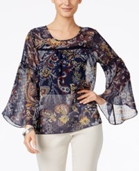 Styleandco. Style Co. Bell Sleeve Crochet Trim Printed Sheer Top Only At Macy's Floral Paisley Blue