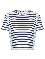 Tanya Taylor Blue Stripe Scuba Bora Top Multi