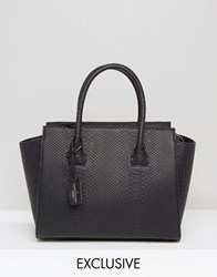 Paul's Boutique Pauls Exclusive Bethany Black Snake Structured Tote Black