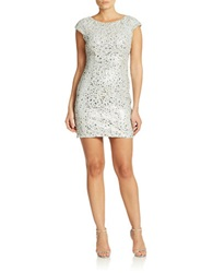Hailey Logan Cap Sleeve Sequin Dress Silver