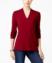 Charter Club Long Sleeve V Neck Top Only At Macy's Cranberry Red