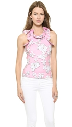 Cynthia Rowley Bonded Ruffle Top Pink Floral