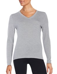 Lord And Taylor Merino Wool V Neck Sweater Platinum Heather