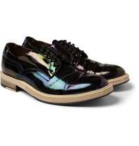 Acne Studios Askin Distressed Patent Leather Derby Shoes