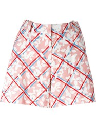 Jil Sander Navy Checked Floral Print Shorts White