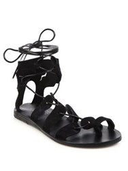 Ancient Greek Sandals Fteroti Wing Suede Gladiator Sandals Black