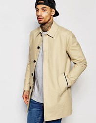 Asos Single Breasted Shower Resistant Trench Coat In Stone Stone