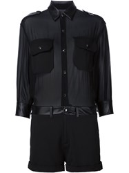 Philipp Plein Sheer Playsuit Black