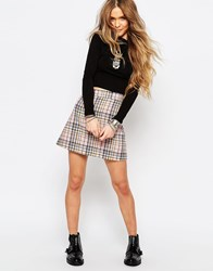 Reclaimed Vintage X Liquid Lunch Mini Skirt In Check Pink