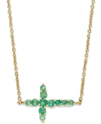 Macy's 10K Gold Necklace Emerald Sideways Cross Pendant 1 4 Ct. T.W.