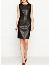 Karl Lagerfeld Fitted Leather Punto Dress Black