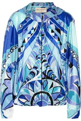 Emilio Pucci Printed Shell Windbreaker Blue