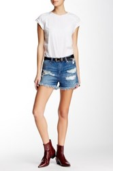 Just Usa High Rise Destroyed Denim Short Blue