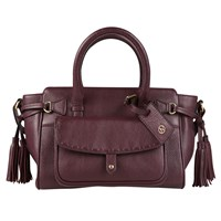 Jacques Vert Stitch Pocket Leather Tote Bag Dark Red