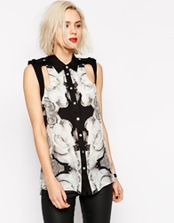 L.A.M.B. L.A.M.B Photographic Rose Print Sleeveless Top Assample