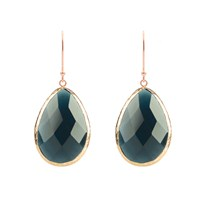 Latelita London Rosegold Single Drop Earring Sapphire Hydro Blue Rose Gold