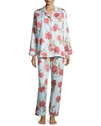 Bedhead Rose Print Classic Pajama Set Light Blue Lt Blue Rose