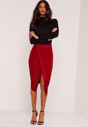 Missguided Asymmetric Satin Panel Skirt Red Red