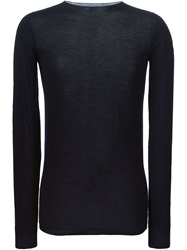 Rick Owens Crew Neck Sweater Blue