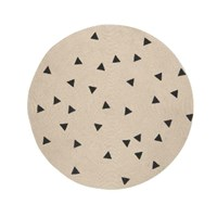 Ferm Living Black Triangles Round Rug