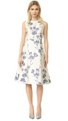 Lela Rose A Line Dress Ivory Blue