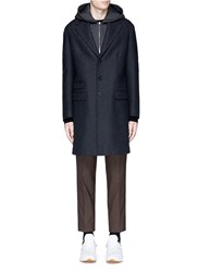 Neil Barrett Vest Underlay Herringbone Long Wool Coat Grey