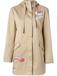 Red Valentino Embroidered Rainbow Parka Nude And Neutrals