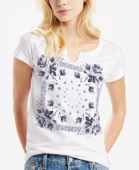 Levi's Split Neck Printed T Shirt White