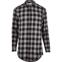 River Island Mens Grey Checked Longline Shirt