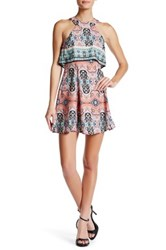 Be Bop Electric Paisley Popover Halter Dress Orange