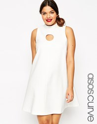 Asos Curve Funnel Neck Shift Dress With Cut Out Circle White