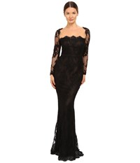 Marchesa Long Sleeve Lace Gown With Illusion Neckline Black Women's Dress