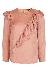 Topshop Satin Ruffle Blouse Dusty Pink