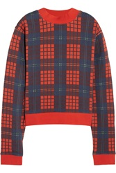 Acne Studios Bird Tartan Plaid Cotton French Terry Sweatshirt Red